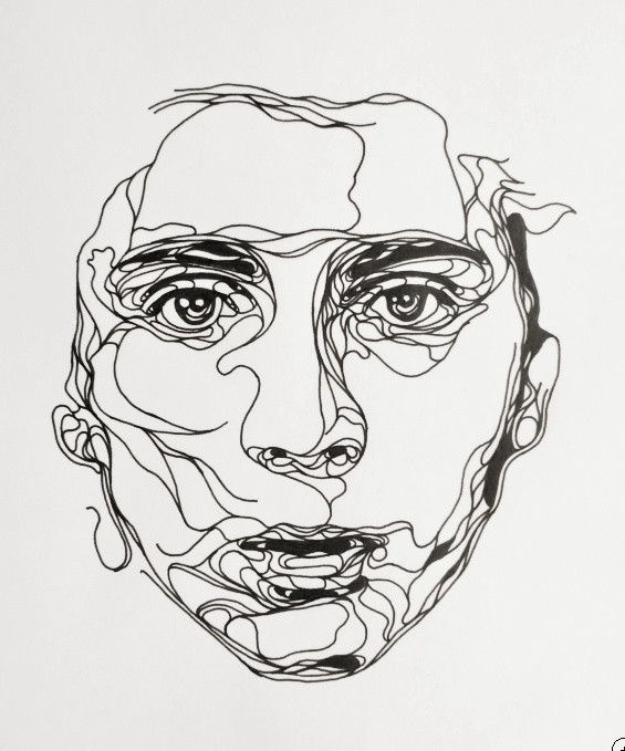 Contour Line Drawing Of A Face : Kris trappeniers portraits découpés collectif textile